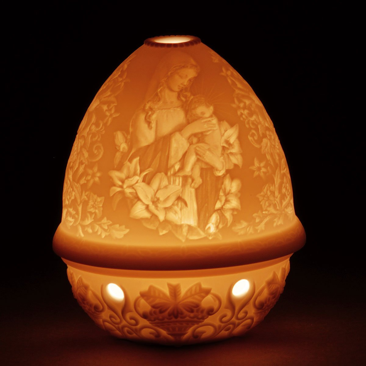 Lladro Madonna of the Flowers Lithophane Votive Light