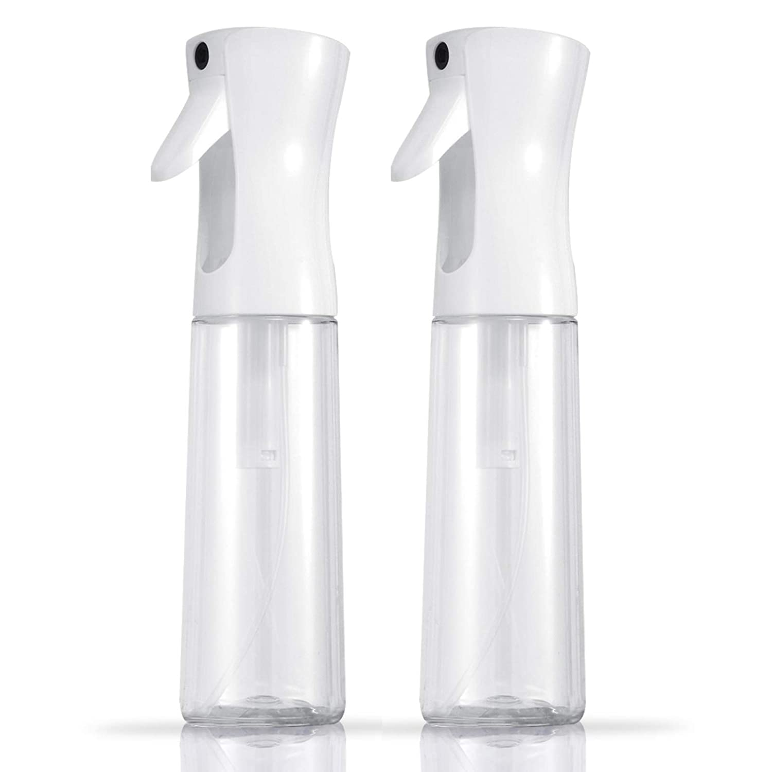 Hair Mister Water Spray Bottle - Continuous 360 Fine Mist Sprayer for Curl Hair Cleaning Solutions Essential Oil Alcohol Plant, Professional Empty Misting Squirt Bottles, 10oz/300ml, Clear, 2Pack
