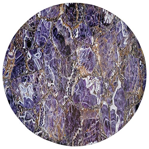 Round Rug Mat Carpet,Marble,Italian Style Stone Surface in Shady Stylized Renaissance Effects Image Decorative,Dark Purple Violet,Flannel Microfiber Non-slip Soft Absorbent,for Kitchen Floor Bathroom (Renaissance Marble)