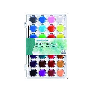 28 Farben Eingestellt Fest Aquarell Kuchen Im Freien Malen Pigment