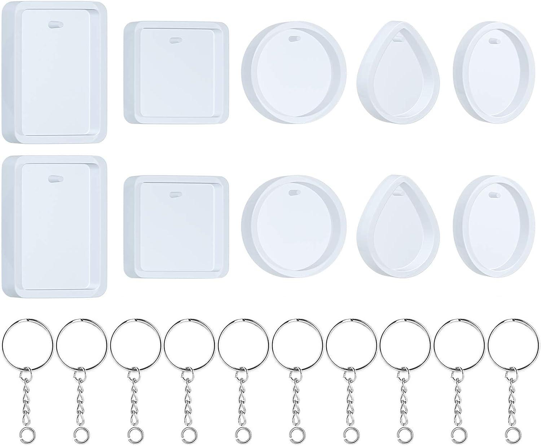 10 moldes silicona p/realizar llaveros resina +10 anillos