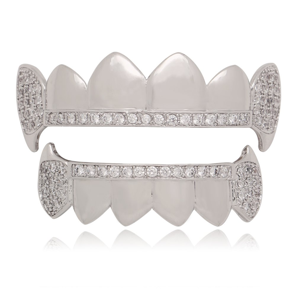 Lureen Siver Vampire Fangs Pave CZ 6 Top and Bottom Grillz Teeth Sets + 2 EXTRA Molding Bars
