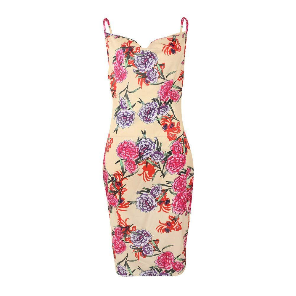 US Womens Strappy Summer Long Dress Floral Cocktail Holiday Dresses Shirt Dress