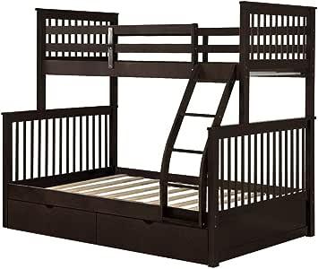 PIKA PIKA QIO Estructura De Cama Cama litera Doble sobre escaleras con Escalera y Dos cajones de Almacenamiento Cama Doble: Amazon.es: Hogar