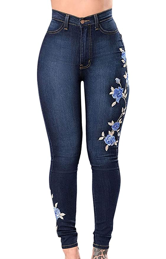 Da Donna High Waist Pantaloni Jeans Skinny Stretch Slim Skinny Jeggings TREGGINGS BLU