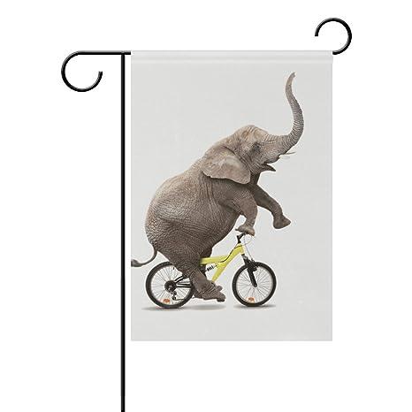 Bandera de jardín para bicicleta, diseño de elefante divertido de ...