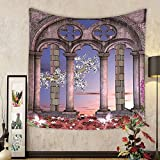 Gzhihine Custom tapestry Gothic House Decor Tapestry Dark Mystic Ancient Hall with Pillars and Christian Cross Dome Shrine Church Bedroom Living Room Dorm Decor Red Brown Black
