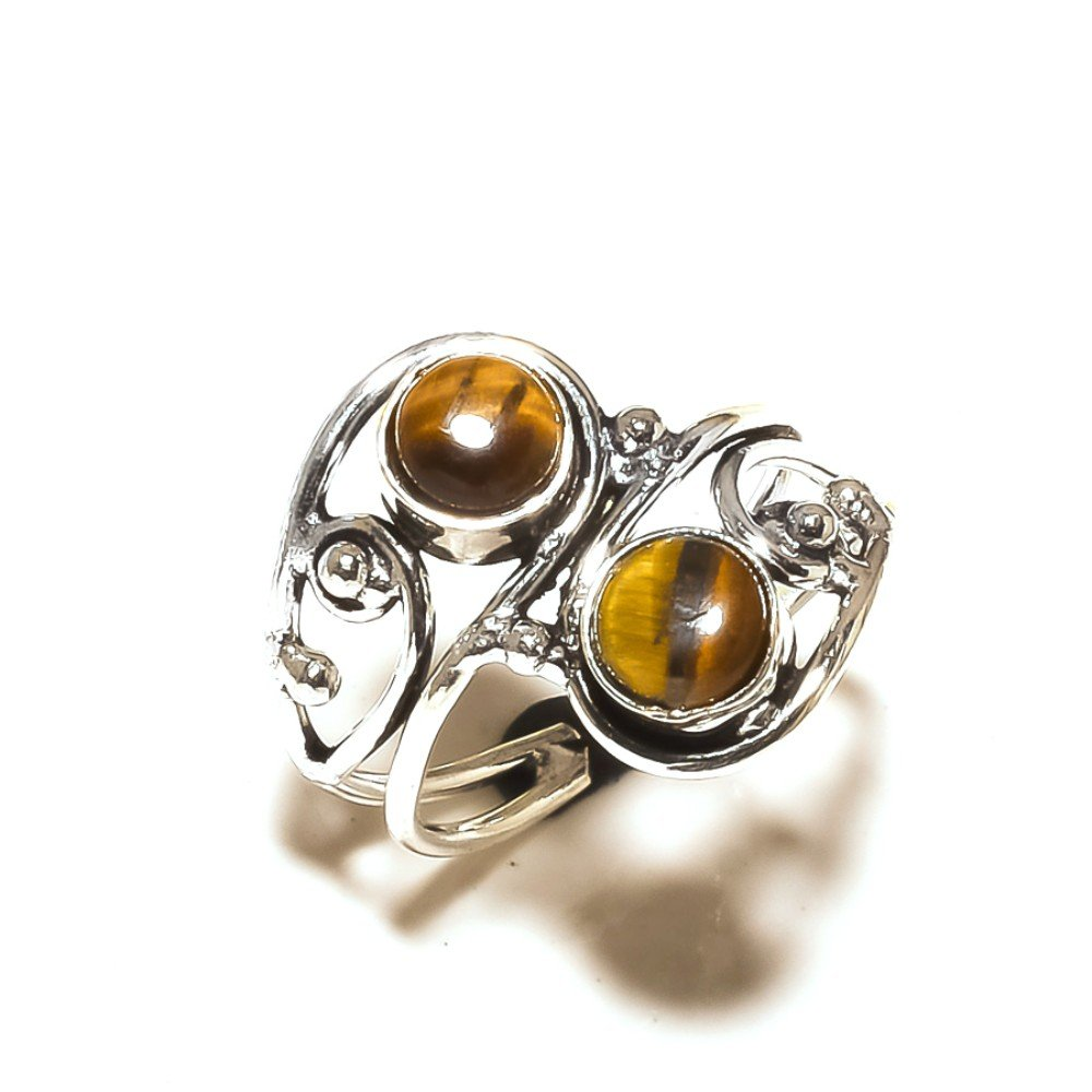 Sizable Brown Tiger Eye Handmade Jewellry 925 Sterling Silver Plated 4 Grams Ring Size 8.5 US Fantasy