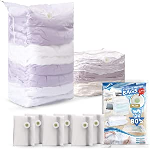 LEVERLOC Space Saver Bags, Vacuum Storage Bags Cube Space Sealer Bags for Clothes Space Saving Jumbo No Vacuum & Pump Needed for Home Travel Organizing Frosted