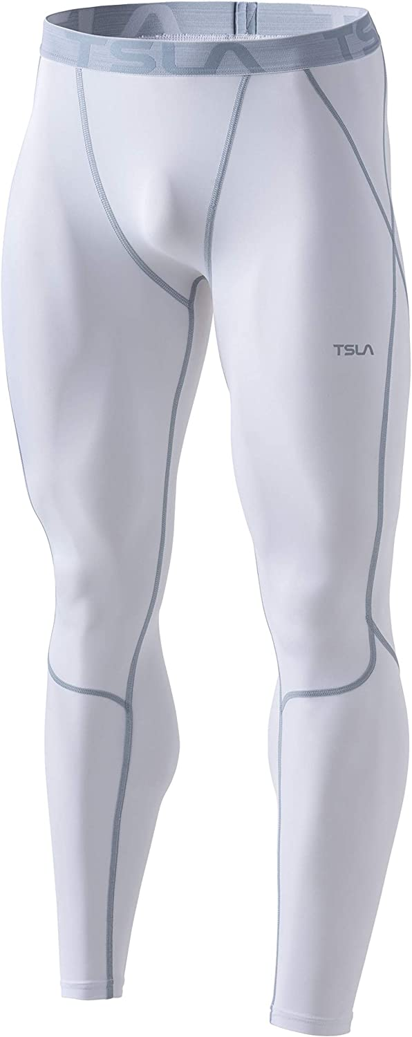 TSLA Men's UPF 50+ Compression Pants, UV/SPF Workout Leggings, Running Tights, Cool Dry Yoga Gym Clothes