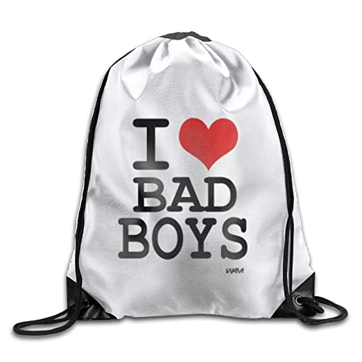 I Love Bad Boys By Wam Personalized Gym Drawstring Bags Travel Backpack  Tote School Rucksack 67ff995c4eb0a