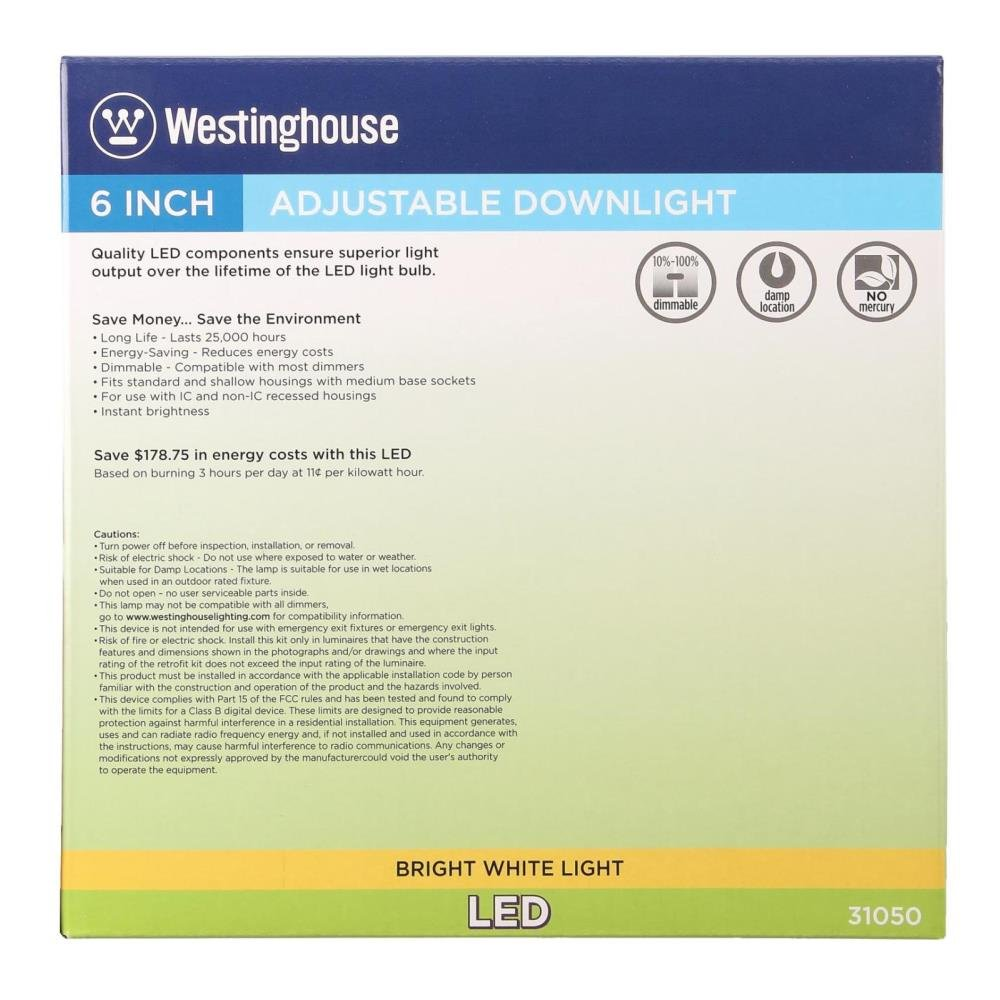 Westinghouse Lighting 3105000 75-Watt Equivalent Adjustable Recessed Downlight Dimmable Bright White LED Energy Star Light Bulb with Medium Base Single Pack