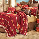 Southwestern Flame Tapestry Western Coverlet – King – Rustic Bedding Decor For Sale