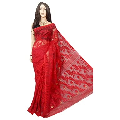 2f246d2ca2 Image Unavailable. Image not available for. Color: Red Wedding Dhakai  Jamdani Handloom Silk Saree Ethnic Indian Beautiful ...