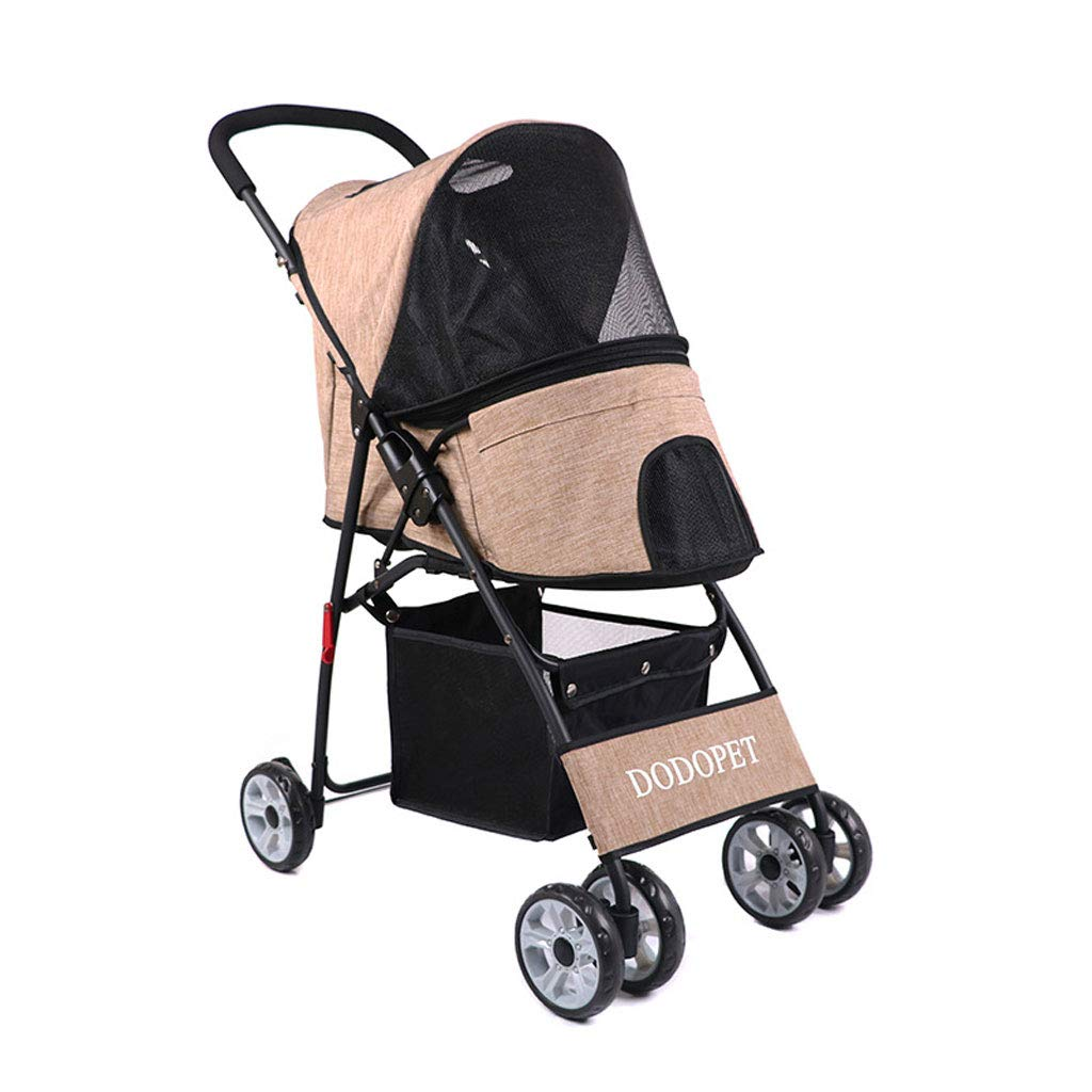 Beige Pet Four-wheeled Stroller Dog Foldable Trolley Cat Carts with Removable Liner, Storage Basket, Mesh Ventilation for Medium Large Dogs Outgoing (color   Beige)