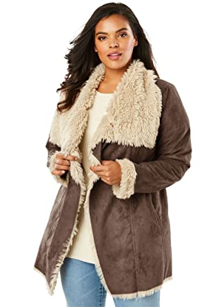 6ee0015fa51 Roamans Women s Plus Size Cascade Shearling Jacket at Amazon Women s Coats  Shop