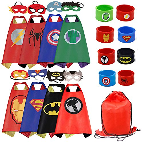 Dress up Costume Cape and Mask Set with Drawstring Backpack and Matching Shaped Rubber Wristbands for Kids, Birthday Party Children (8pcs for Boys) ()