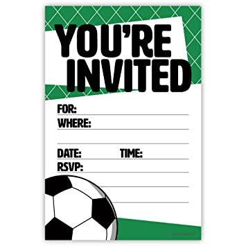 Amazon Com Soccer Party Invitations 20 Count With Envelopes