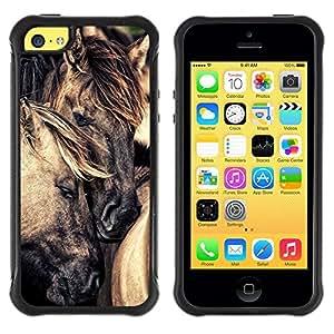 Fuerte Suave TPU GEL Caso Carcasa de Protección Funda para Apple Iphone 5C / Business Style mane cute love horse stallion mustang