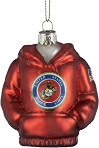 U.S. Marines Kurt Adler Glass Hoodie Ornament, 3.75-Inch