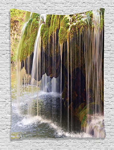 Ambesonne Waterfall Decor Collection, Natural Curtain of Water Cascades Scenery Picture, Bedroom Living Kids Girls Boys Room Dorm Accessories Wall Hanging Tapestry, Olivedrab Green Khaki