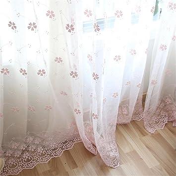 CF® Tulle Vorhang Moderne Foral Tüll Vorhänge Für Wohnzimmer Weiß Rosa  Vorhänge Für Kinder Schlafzimmer