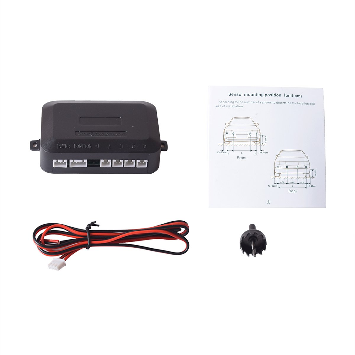 White Color Sound Warning LED Distance Display EKYLIN Car Auto Vehicle Reverse Backup Radar System with 4 Parking Sensors Distance Detection
