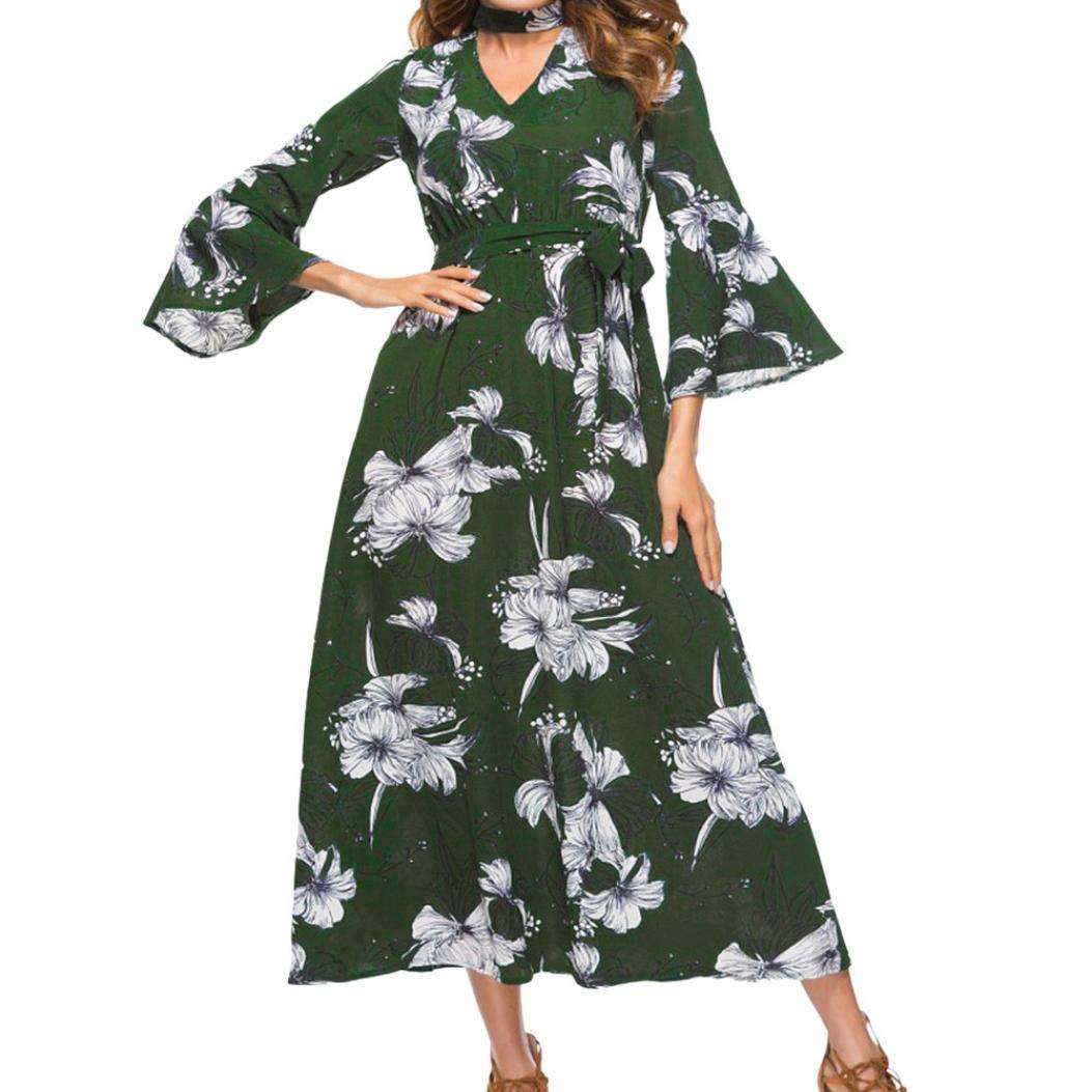 Kleid Lang Damen Sommerkleid Casual Drucken Minikleid TrompetenäRmeln Kleider  Elegant Tunikakleid Partykleid (Armeegrün, S)  Amazon.de  Bekleidung 12cbcacab8