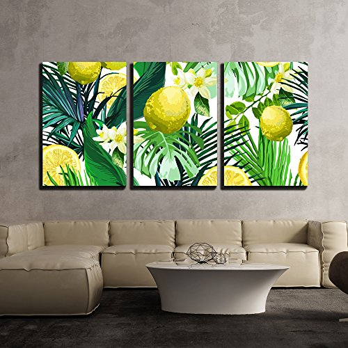wall26 - 3 Piece Canvas Wall Art - Vector - Seamless Pattern of Lemon, Flowers and Tropical Leaves on a White Background. - Modern Home Decor Stretched and Framed Ready to Hang - 16