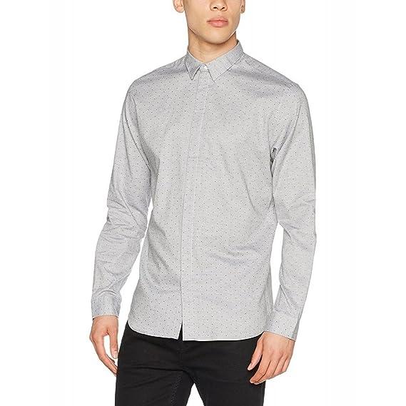 JACK & JONES PREMIUM Jprmontana Shirt L/s Plain Camisa, Gris (Light Grey Melange Detail:Slim Fit/AOP), Medium para Hombre: Amazon.es: Ropa y accesorios