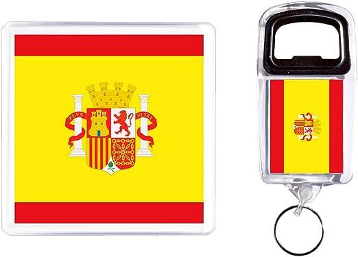 Abridor de botella y posavasos España Bandera: Amazon.es: Hogar