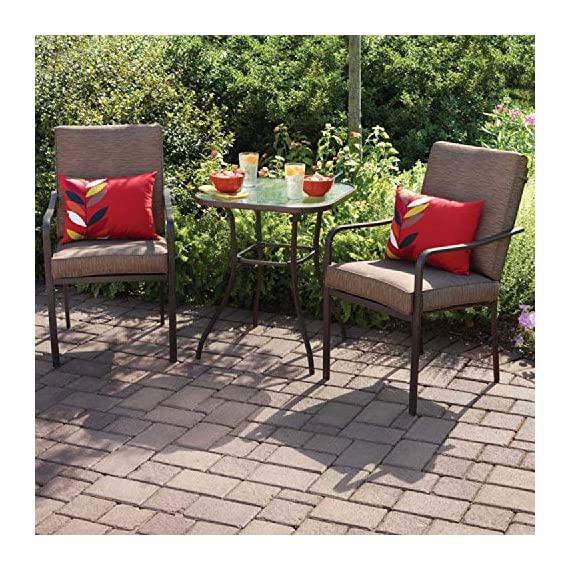 Outdoor Patio Bistro Furniture Set | 3 Piece Powder-Coated Steel Frame Table and Chairs, Water Wave Tempered Safety Glass Tabletop and UV-Resistant Cushions - Give New Life To Backyard Dining (Brown) -  - patio-furniture, dining-sets-patio-funiture, patio - 61  kKOaX8L. SS570  -