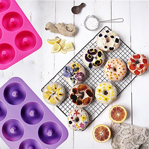 Full Size Donut Maker : klemoo 2 pack donut baking pan silicone non stick mold bake full size perfect shaped ~ Frokenaadalensverden.com Haus und Dekorationen