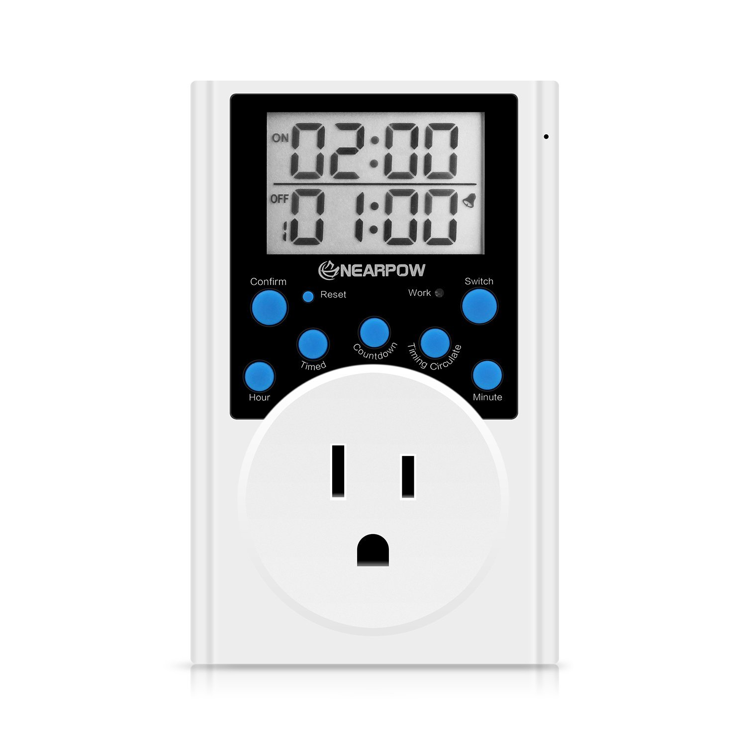 Timer Outlet, Nearpow Multifunctional Infinite Cycle Programmable Plug-in Digital Timer Switch with 3-Prong Outlet for Appliances, Energy-Saving Timer, 15A/1800W by NEARPOW