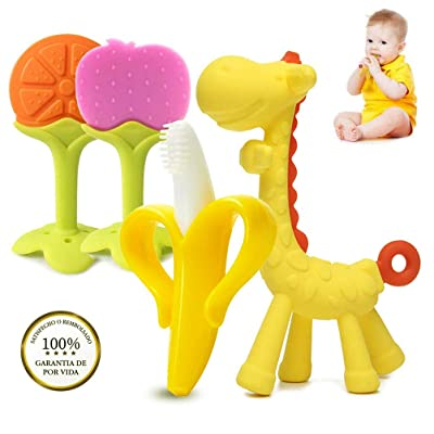 Halsey99 4PCS Cartoon Baby Teething Toys Silicone Teether Toys Baby Chew Toys: Home & Kitchen