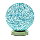 MaoJia Bedside Table Lamp, Rattan Ball Style Energy Saving Desk Bedside Lamp - Perfect LED Night Lamp for Living Room Bedroom Kitchen Home Dining Office and Bookcase Decoration-Blue