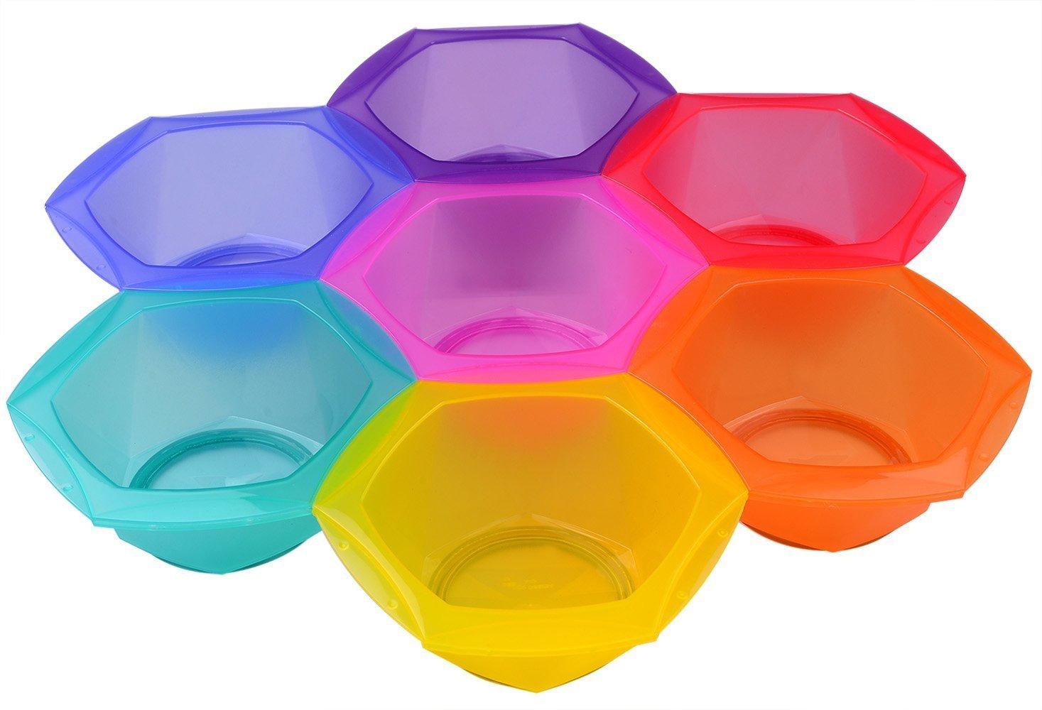 Hair Dye Mixing Bowl Kit, Professional Tint Coloring Bowls Tools Set in Rainbow Colors Perfehair TB021