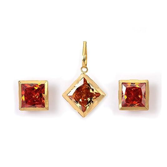 Ashok Jewellers Crystal Yellow Gold and Cubic Zirconia Pendant Set for Women  amp; Girls  Orange