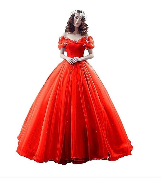 d9b341ef5 Este vestido rojo está elaborado con material de tul y satén. Su diseño  viene con una falda de longitud hasta el suelo con pequeños brillos