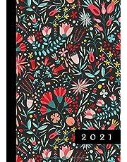 2021: Agenda Semainier A5 | Planificateur Hebdomadaire Et Mensuel | 1 Semaine Sur 2 Pages | Weekly Planner Scolaire Journalier | Organiseur Calendrier 12 Mois | Boho Floral