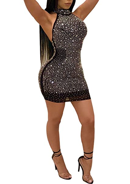 Women s Sexy Halter Neck Sleeveless Sequin Glitter Bodycon Party Clubwear Mini  Dress Black 8dfad90722a6