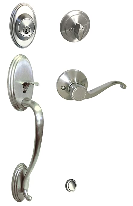 Satin Nickel Lock Door Lever Handle Entry/Privacy/Passage/Dummy/Deadbolt/ Handleset 835DC (Front Door Handle Set Kwikset Keyway Keyed Alike)      Amazon.com