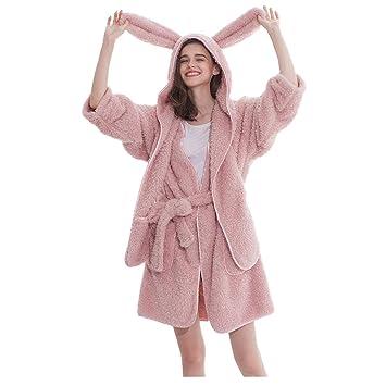 Pijamas Batas Lindas Orejas de Conejo, camisón de poliéster, Primavera y otoño, Damas