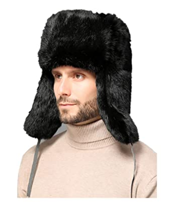 28ccab2276271 Men Real Rabbit Fur Cotton Lining Bomber Hat Winter with Earflap Warm  Russian Hat Black Brown Gray at Amazon Men's Clothing store: