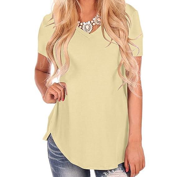 Moda Verano Camiseta Mujer Color Sólido Blusa Larga Elegante Manga Corta Túnica con Cuello en V