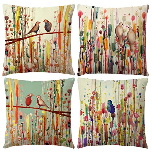 - ULOVE LOVE YOURSELF Abstract Oil Painting Throw Pillow Covers Birds On The Trees Pillow Cover Sets Home Cushion Decorative Pillowcase 18