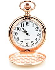 BestFire Taschenuhr Vintage Smooth Quartz Taschenuhr Klassische Taschenuhr mit kurzer Kette für Männer Frauen - Geschenkbox für Geburtstag Jahrestag Tag Weihnachten Vatertag