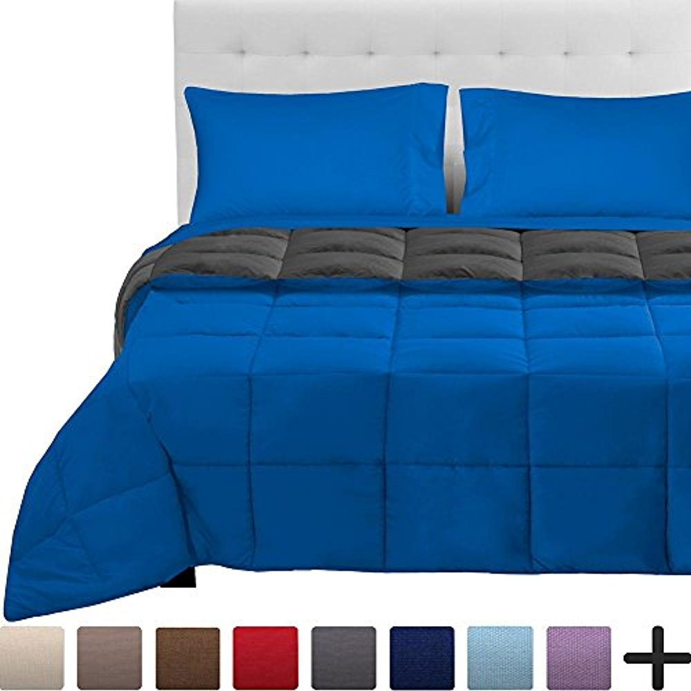 Bare Home 4-Piece Reversible Bed-In-A-Bag - Twin XL (Comforter: Medium Blue/Grey, Sheet Set: Medium Blue)