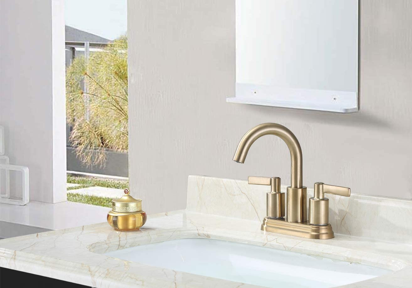 Derengge F-S4501-CS 4 Two Handle Contemporary Lavatory Faucet with Push up Pop-up Drain, Meets cUPC NSF 61-9 AB1953 Lead Free, Brushed Gold Finished,French Brushed Bronze Finished
