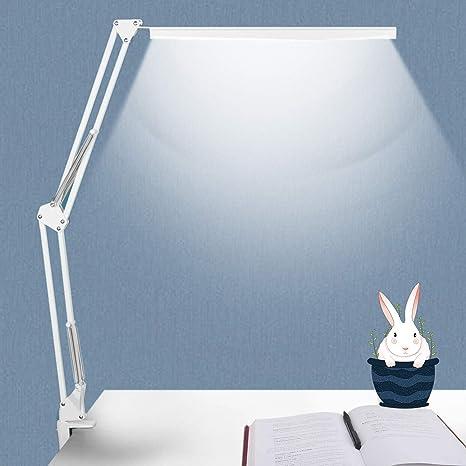Novolido 10w Lampada Da Scrivania A Led 3 Modalita Colore E Regolazione Continua Lampada Da Tavolo Per Architetto Con Braccio Oscillante In Metallo Funzione Di Cura Degli Occhi E Memoria Bianco